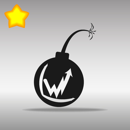 black Bomb Icon button logo symbol concept high quality on the gray background