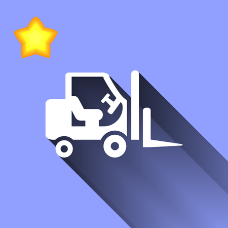 stockpile: white Stacker loader icon button  symbol concept high quality on the blue background Stock Photo
