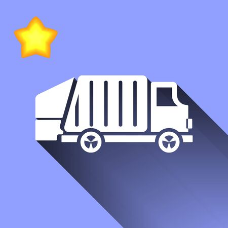 mine site: white garbage truck icon button  symbol concept high quality on the blue background