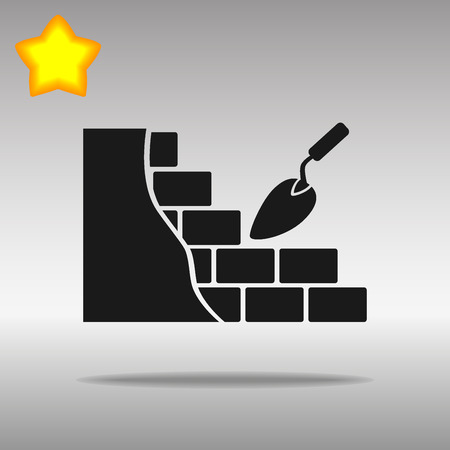 laying: black brickwork and building trowel Icon button logo symbol concept high quality on the gray background