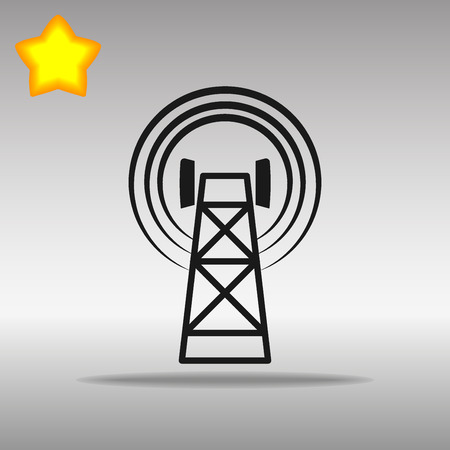 cell tower: black Cell Phone Tower Icon button logo symbol concept high quality on the gray background