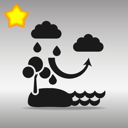 black The water cycle Icon button symbol concept high quality on the gray background