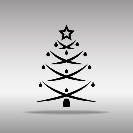 chritmas: black chritmas tree Icon button symbol concept high quality on the gray background