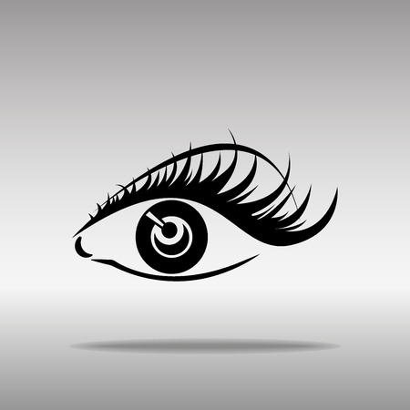 Black silhouettes of eyebrows and eyes isolated on white background. Open and closed eyes. Icon button symbol concept high quality on the gray background