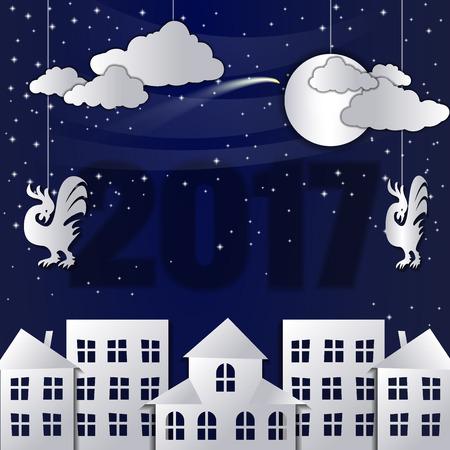 fiambres: Invierno Nieve Urbano Campo paisaje de la ciudad de pueblo con grifo de la luna llena, Feliz Año Nuevo y Feliz Navidad, papel de arte y estilo artesanal. Vectores
