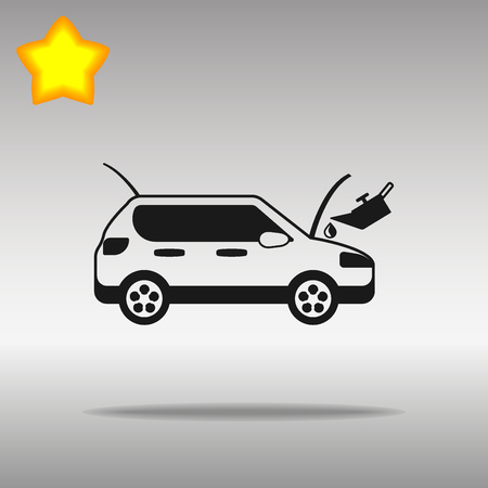 car with the hood up receiving fluid in the engine black Icon button logo symbol concept high quality on the gray background