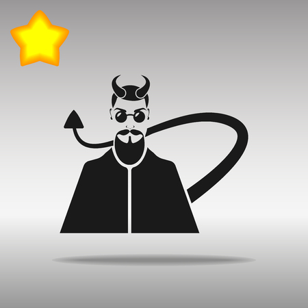 Devil black Icon button logo symbol concept high quality on the gray background