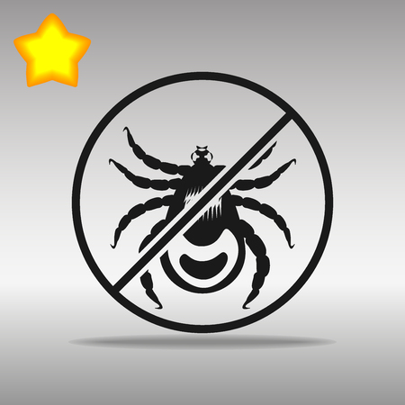 dog tick: Ban mites black Icon button logo symbol concept high quality on the gray background