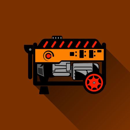 Gasoline generator Flat illustration on the Brown background