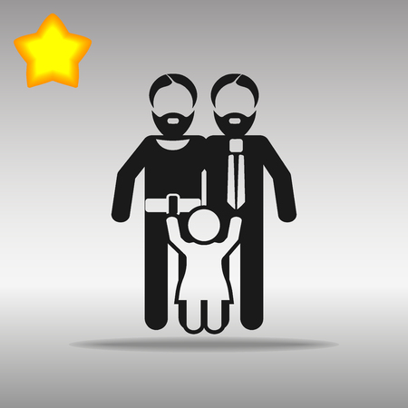 Gay Parents With Child black Icon button logo symbol concept high quality on the gray background