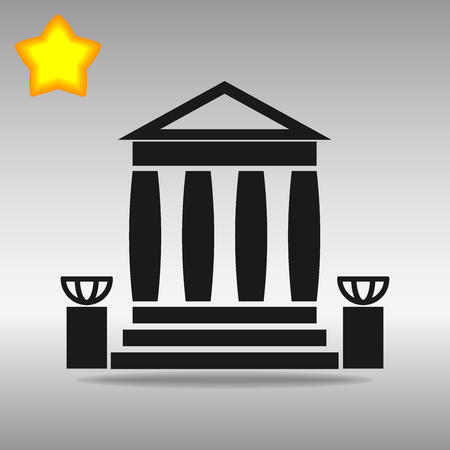 bank building black Icon button logo symbol concept high quality on the gray background