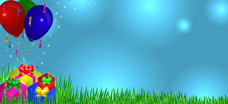 Gifts on grass with balloons in the sky Vectores