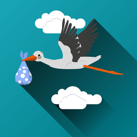 stork flying with bundle: Flying stork with a bundle icon On a cloud background