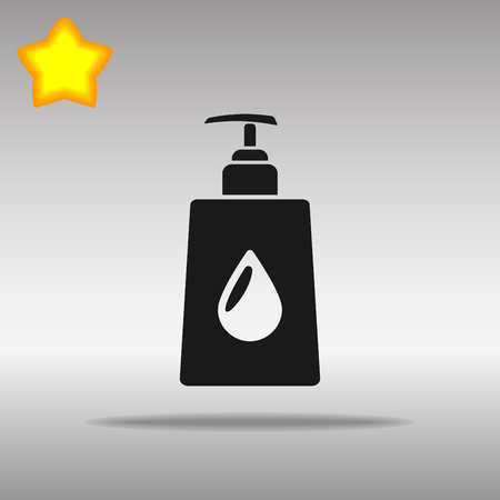liquid soap black Icon button logo symbol concept high quality on the gray background