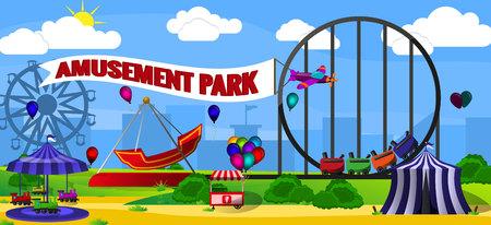 Amusement park landscape concept. Cartoon illustration of amusement park