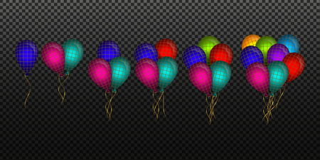 Many colored balloon effect high quality with transparency Vectores