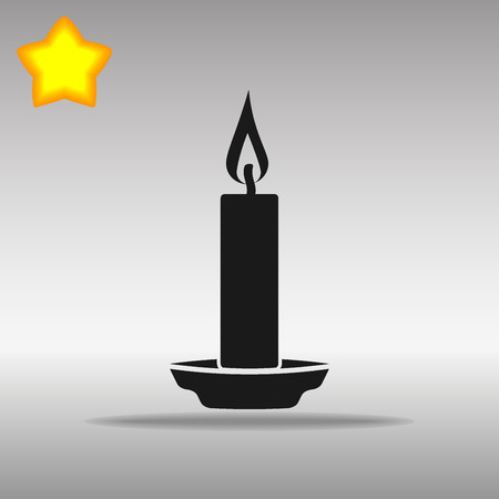 black Candle Icon button logo symbol concept high quality on the gray background