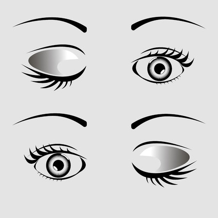 Open and closed eyes with eyelash and eyebrow on a gray background