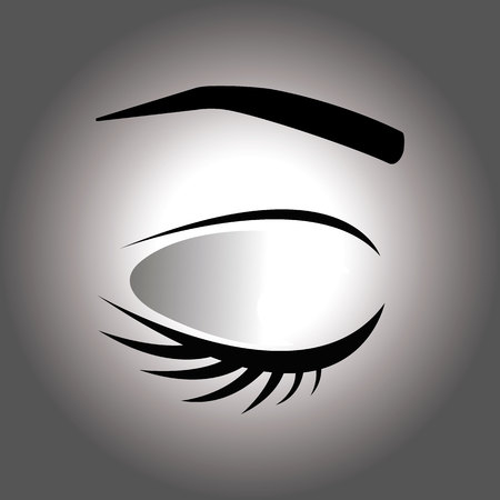 Closed eye with eyelash and eyebrow on a gray background Vectores
