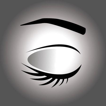 Closed eye with eyelash and eyebrow on a gray background Illustration