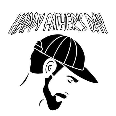 happy father's day. A man with a beard in his cap. vintage style