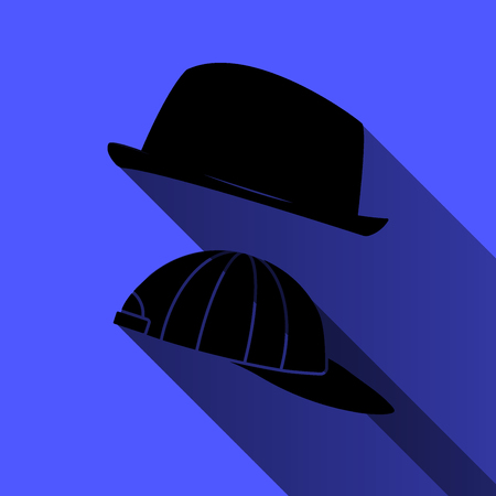 Hat and baseball cap on a blue background. long shadow