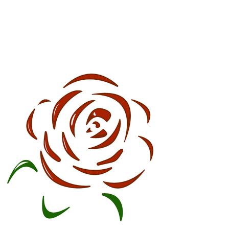 Rose. Red flower on white background. Vector illustration Vectores