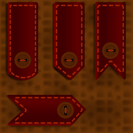 Bookmark with a button on a brown leather background Vectores