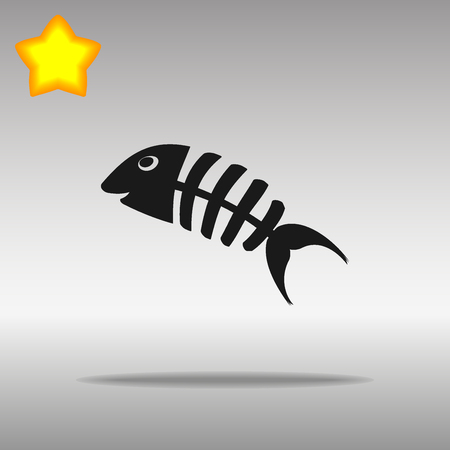 dead fish: Fish bone black Icon button logo symbol concept high quality on the gray background