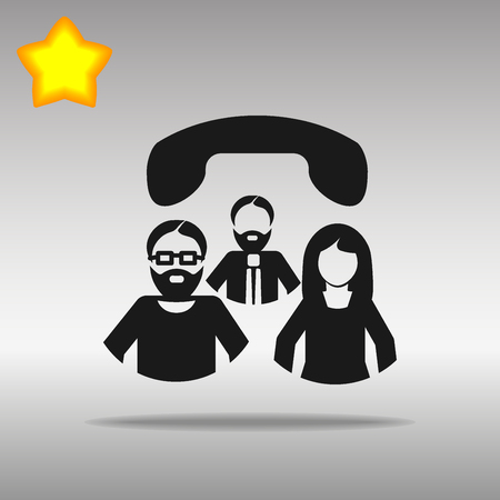 Conference call black Icon button logo symbol concept high quality on the gray background