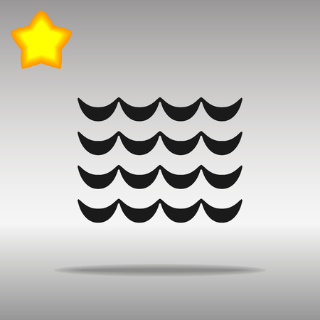 wave black Icon button logo symbol concept high quality on the gray background