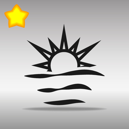 black sunrise Icon button logo symbol concept high quality on the gray background