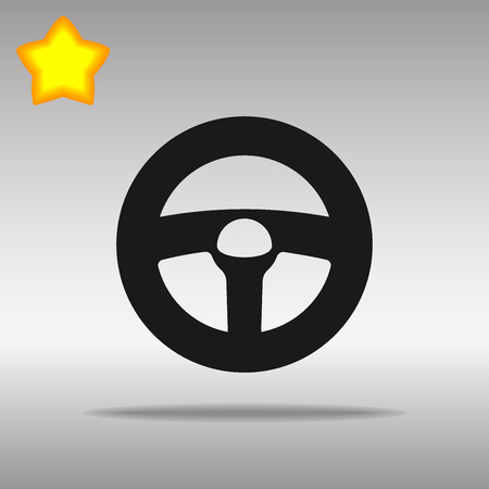 black steering wheel Icon button logo symbol concept high quality on the gray background Vectores