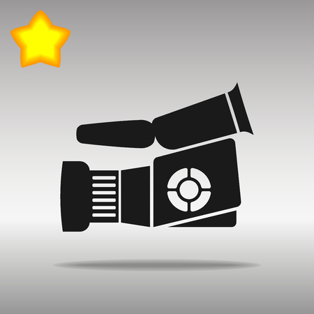 Video camera black Icon button logo symbol concept high quality on the gray background Vectores