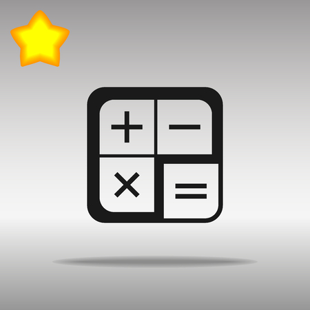black calculator Icon button logo symbol concept high quality on the gray background