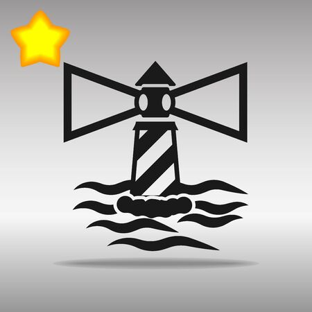 black Lighthouse Icon button logo symbol concept high quality on the gray background Vectores