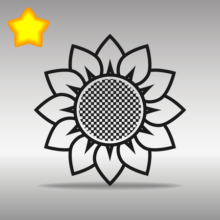 flower black Icon button logo symbol concept high quality on the gray background