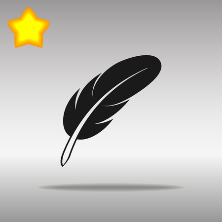 feather black Icon button logo symbol concept high quality on the gray background Vectores