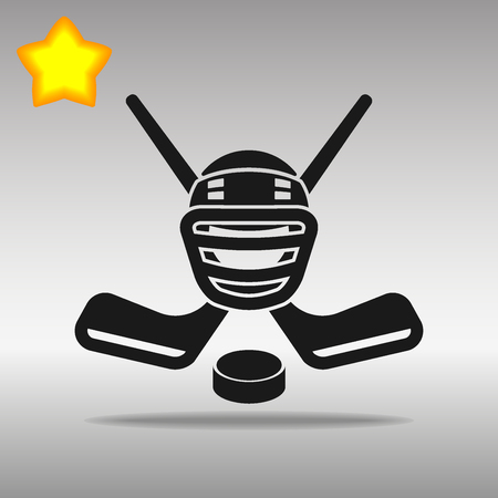 Hockey black Icon button logo symbol concept high quality on the gray background