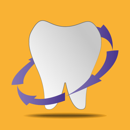 Clean white tooth on a yellow background Vectores