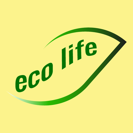 Logo of green leaves on a yellow background eco life