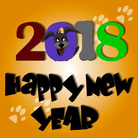 Cute dog Year 2018 yellow background