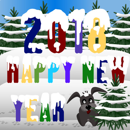 Happy New Year 2018 greeting card design template Vectores