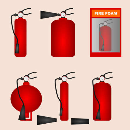 A set of different types of fire extinguishers foam in red and different shapes Fire safety Иллюстрация