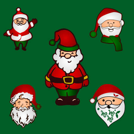 Set of Santa Claus cartoon Christmas illustrations Funny happy  character. For Christmas cards, banners, tags and labels.