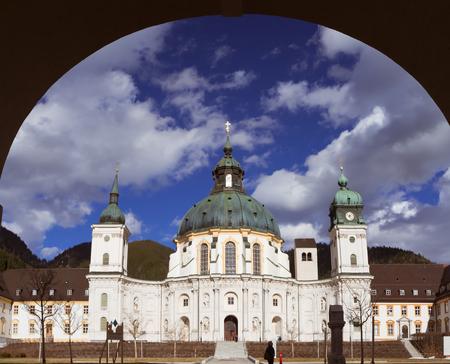 ETTAL, BAVARIA, GERMANY, April 5, 2018 - Ettal Abbey. View to the historic monastery. Popular tourist destination near Oberammergau