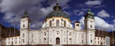 ETTAL, BAVARIA, GERMANY, April 5, 2018 - Ettal Abbey. Panoramic view of the historic monastery. Redakční