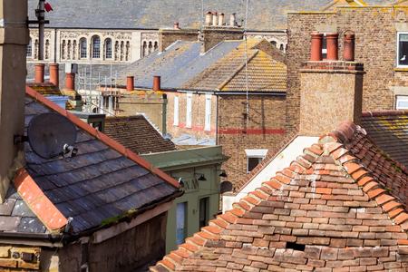 Roofs, walls, windows of old brick buildings Broadstairs, UK Reklamní fotografie