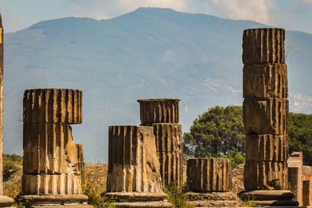 ruins of the Roman city of Pompei destroyed by Vesuvius vulcano eruption in 79 AD