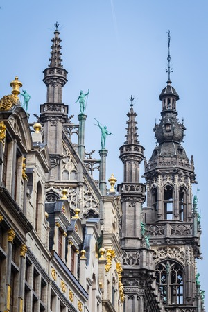 Statues and decorations of the roof of Town hall on the Grand place,